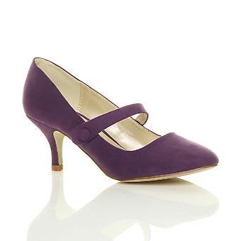 Ajvani kvinners lav midt hælen mary jane stroppen arbeid partiet retten sko pumper