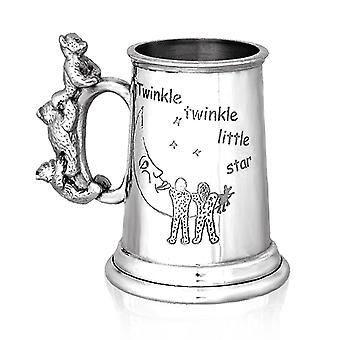 Twinkle Twinkle Little Star Teddy Bear Handle Child's Pewter Cup