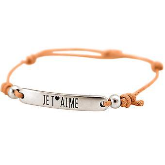 Gemshine - Damen - Armband - Gravur - JE T´AIME - Silber - Hellkoralle - Rose