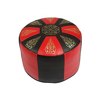 Seat cushion Pouffe Oriental pillow around faux leather red/black, width 50 cm, height 34 cm