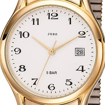 JOBO men's wristwatch quartz analog god stainless steel cable gold plated date