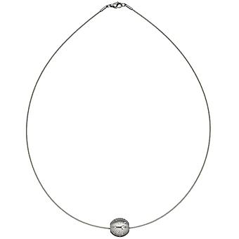 Necklace Choker with trailer ball stainless steel matt 45 cm with cubic zirconia