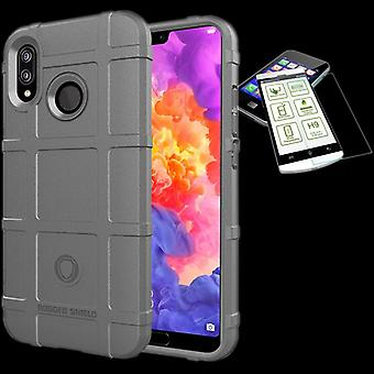 For Huawei P20 Pro shield case TPU silicone grey + 0.26 mm 2.5 d H9 tempered glass bag case cover sleeve