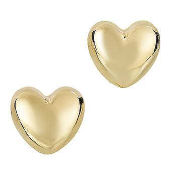 14k Gold Shiny Puff Heart Shape Stud Earrings 7 x 8mm