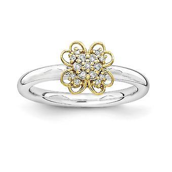2,25 mm Sterling zilver en 14 k Gold-flitste stapelbare expressies Diamond Flower Ring - Ringmaat: 5 tot en met 10
