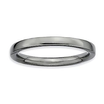 Sterling zilveren Ruthenium plating stapelbare expressies zwart basisstuk gepolijst Ring - Ringmaat: 5 tot en met 10