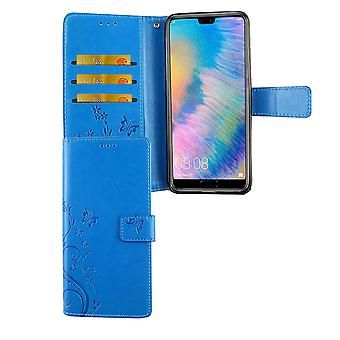 Huawei P20 Handy-Hülle Schutz-Tasche Cover Flip-Case Kartenfach Blau