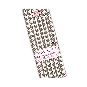 SALE -  3 Decopatch & Decoupage Paper Sheets - Brown Dogtooth | Decoupage Crafts