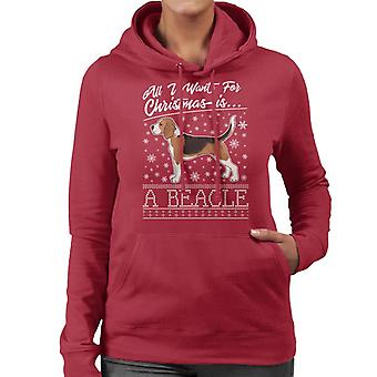 All I Want For Christmas Is A Beagle Knit Pattern Women's Hooded Sweatshirt