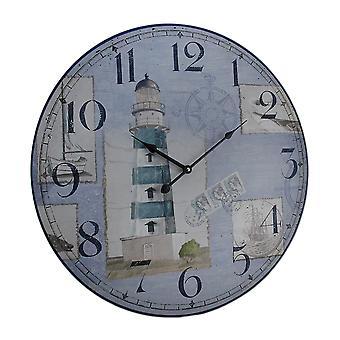 Синий и белый морской маяк круглые деревянные настенные часы