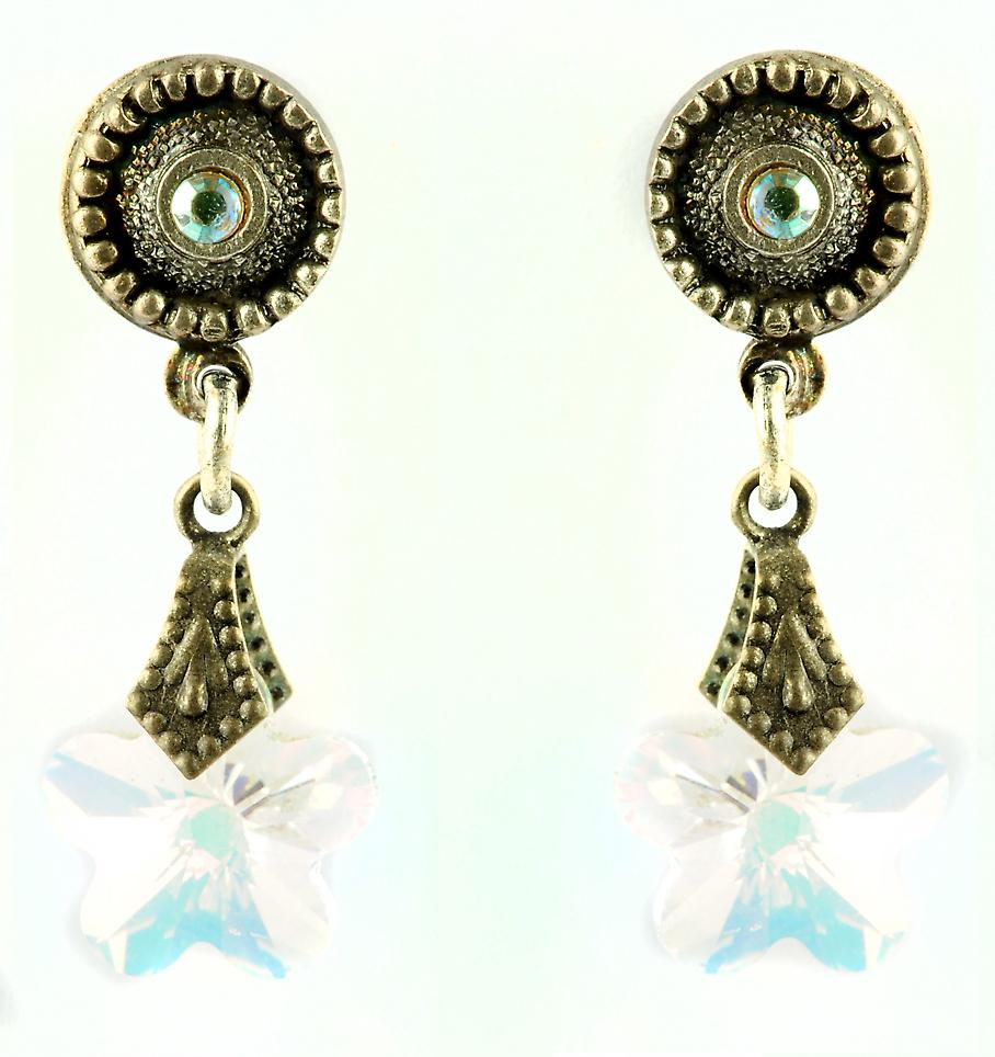 Waooh - Fashion Jewellery - WJ0688 - D'Oreille earrings with Swarovski Strass Form Etoile - Metal Old Silver
