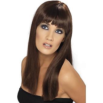 Marrone lungo rettilineo parrucca, parrucca lunga, Fancy Dress Accessory