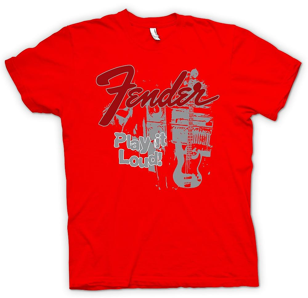 Heren T-shirt - Fender Strat Play Loud - Gitaar