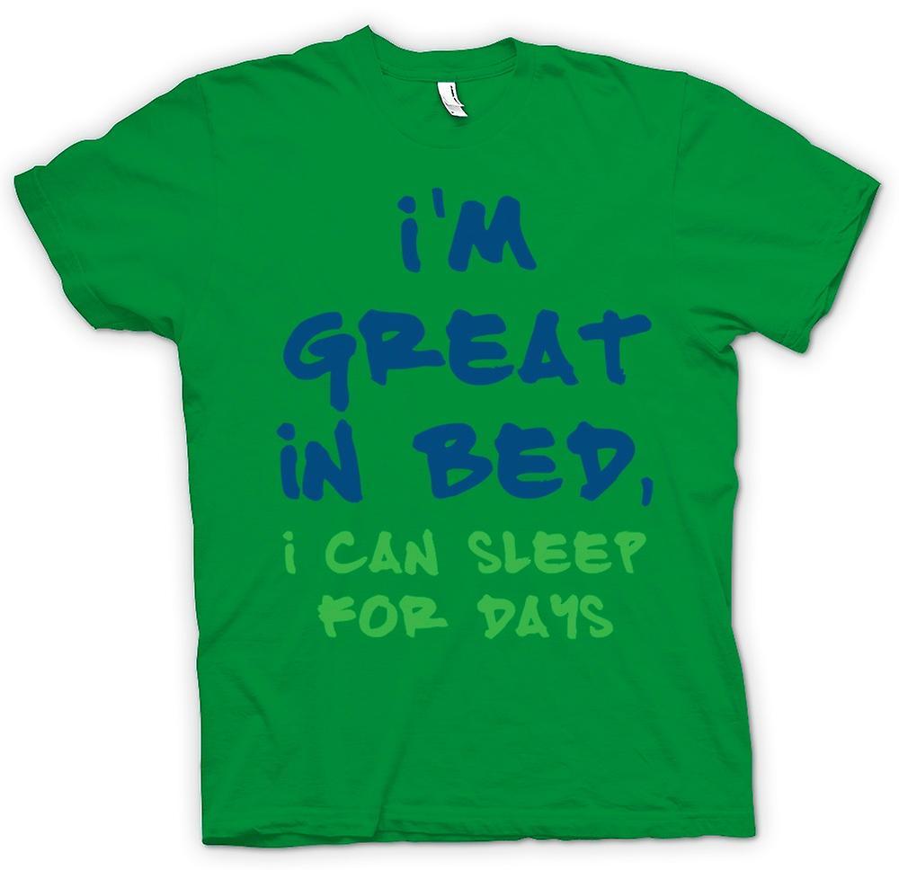 Camiseta para hombre - soy genial en la cama, puedo dormir por días - gracioso