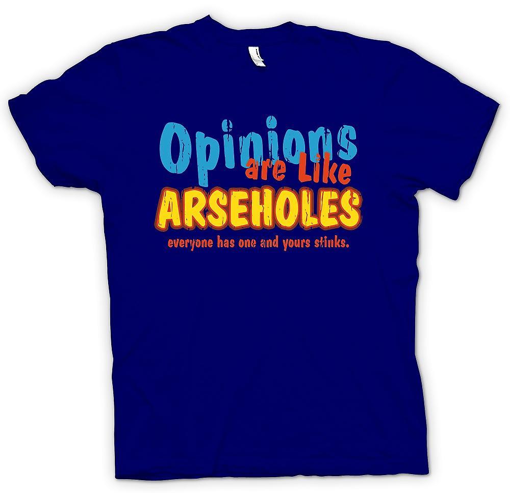 Heren T-shirt - meningen zijn als klootzakken, iedereen heeft één en de jouwe stinkt