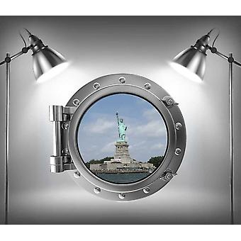 Full Colour standbeeld van Liberty Patrijspoort Amerika muur Sticker