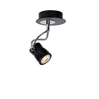 Lucide Samba Modern Round Metal Black And Chrome Ceiling Spot Light