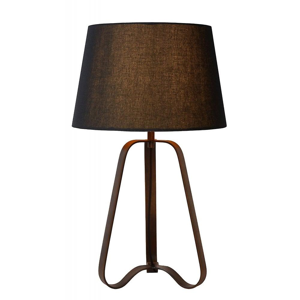 Lucide Capucino Classic Triangle Steel Rust marron And noir Table Lamp