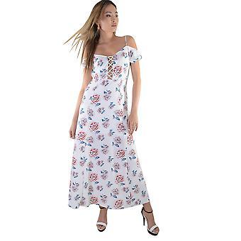 Lovemystyle blanc Maxi robe avec imprimé Floral et dentelle à l'avant - échantillon