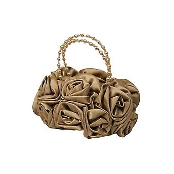 Gold Satin Ruffle Rose Flower Girls Handbag