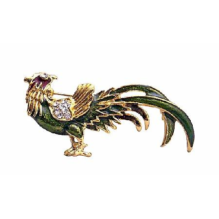 Gold Plated Animal Rooster Olivine Green with Cubic Zircon Brooch