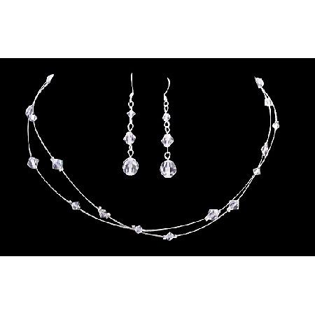 Double Stranded Clear Crystals Wedding Bridal Bridesmaid Necklace Set