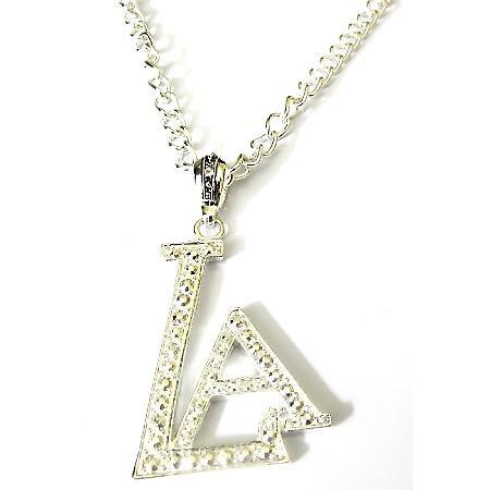 LA Pendant Fully Embedded Cubic Zircon Striking Pendant Long Necklace