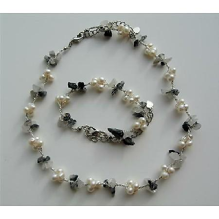 Freshwater Pearls & Onyx Nugget Chips Necklace & Bracelet