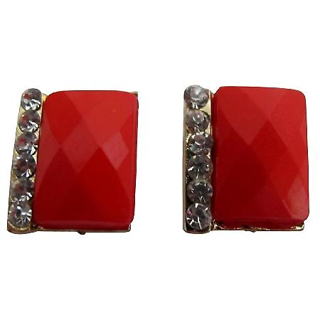 Pair of Fresh Women Solid Red with Rhinestone Embellished Earrings