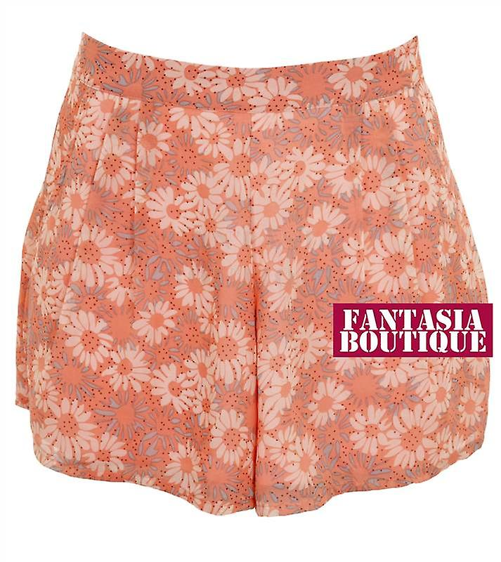 New Ladies Floral Chiffon Lined Summer Sexy Party Shorts Women's Hotpants
