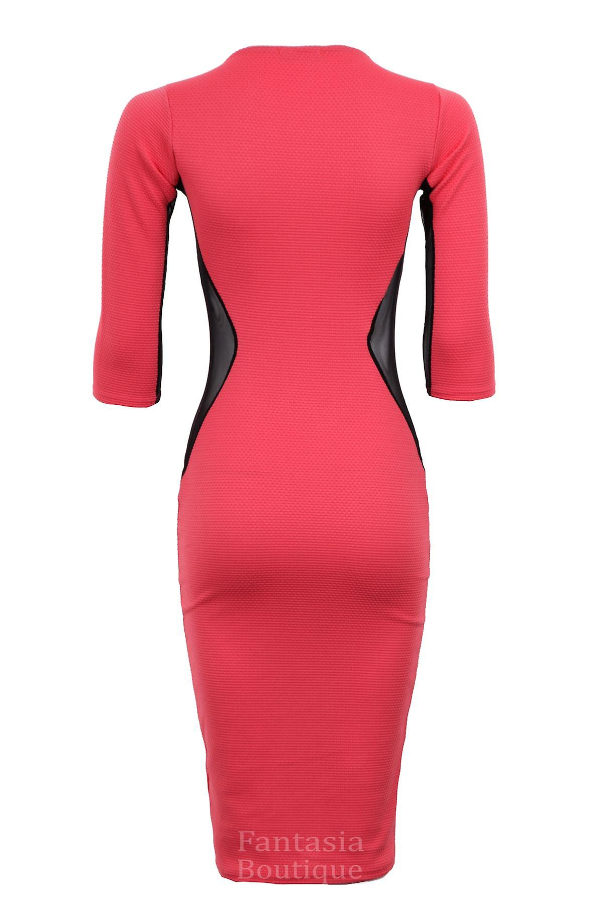 New Ladies 3/4 Sleeves Ribbed Net Mesh Women's Bodycon Dress