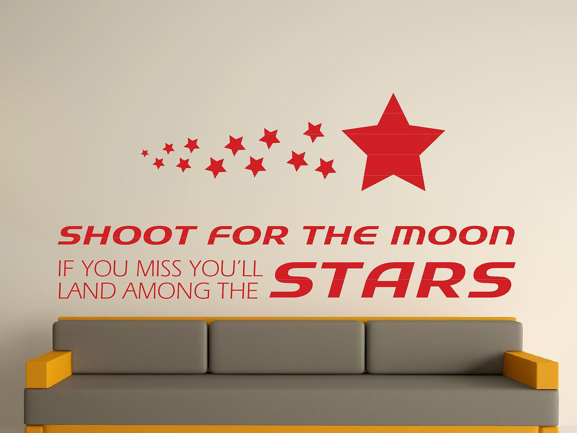 Shoot For The Moon Wall Art Sticker - Deep Red
