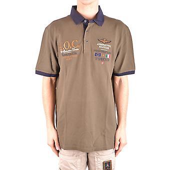 Aeronautica Militare grüne Baumwoll-Polo-Shirt