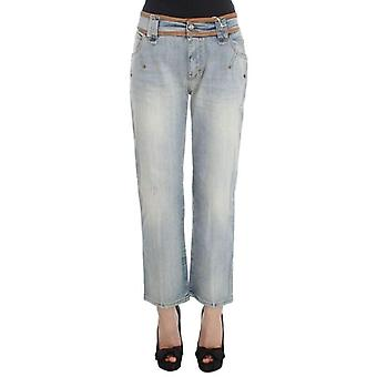 Galliano Blue Wash Cotton Boyfriend Fit Cropped Jeans -- SIG3106416