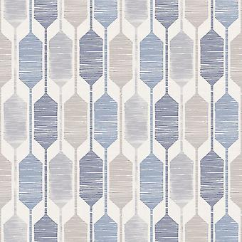 Arthouse Otis geometrische blauwe Taupe grijs Retro behangpapier functie muur luxe