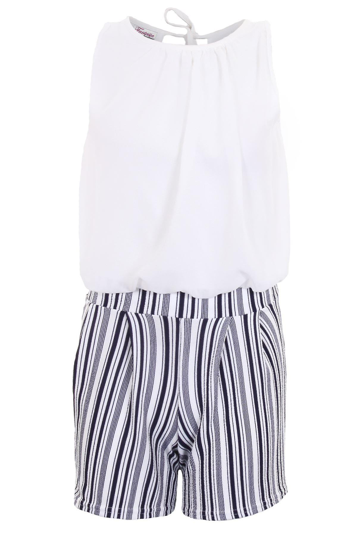 Ladies Vertical Stripe Crepe Shorts Rompa Lined Chiffon Tie Back Top Playsuit