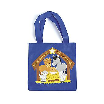12 Printed Canvas Christian Nativity Animals Christmas Party Tote Bags