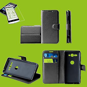 For Huawei P smart plus 2019 Pocket wallet premium black protective sleeve case cover pouch + 0, 26mm H9 2.5 hard glass