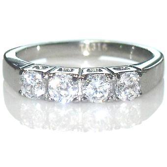 Ah! Jewellery Stainless Steel 4 Individual Simulated Diamond Ring.