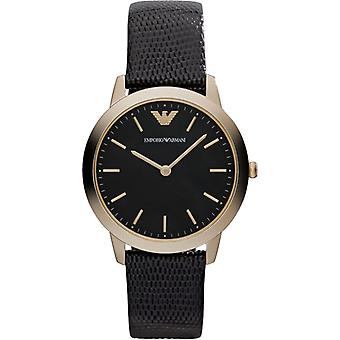 Emporio Armani Ar1747 Gold And Black Leather Ladies Watch