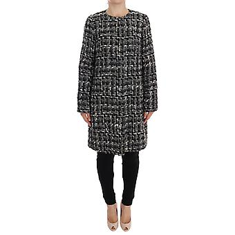 Gray wool knitted trench coat