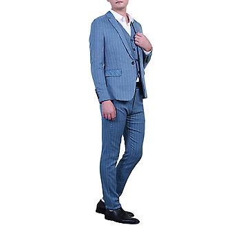 Allthemen Herren anzüge 3-Pieces Suits Stripe Cotton Slim Fit Blazer&Pants&Vest