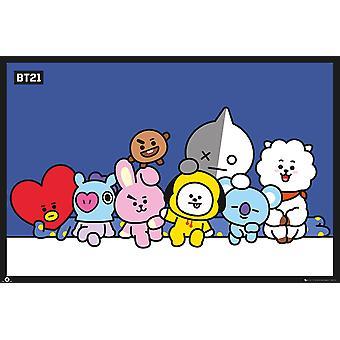 BT21 Poster Gruppo Koja, RJ, Shooky, Mang, Chimmy, Tata, Cooky e Van