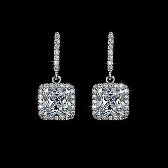 18K Gold Plated Square Cubic Zirconia Drop Earrings, 2.2cm