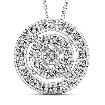Weißes Gold 3 / 8ct filigrane Pave Circle antike Anhänger