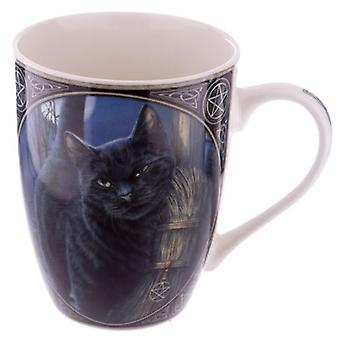 Cat with Broom China Mug by Lisa Parker