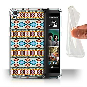 STUFF4 Gel/TPU Case/Cover for HTC Desire 820s Dual/Blue/Red/Aztec Tribal Pattern