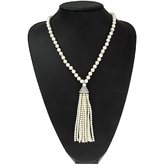 Kenneth Jay Lane Long Antique Silver & Crystal and Pearl Tassel Pendant Necklace