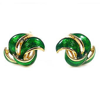 Clip On Earrings Store Green Enamel  and  Gold Plated Petal Clip On Earrings