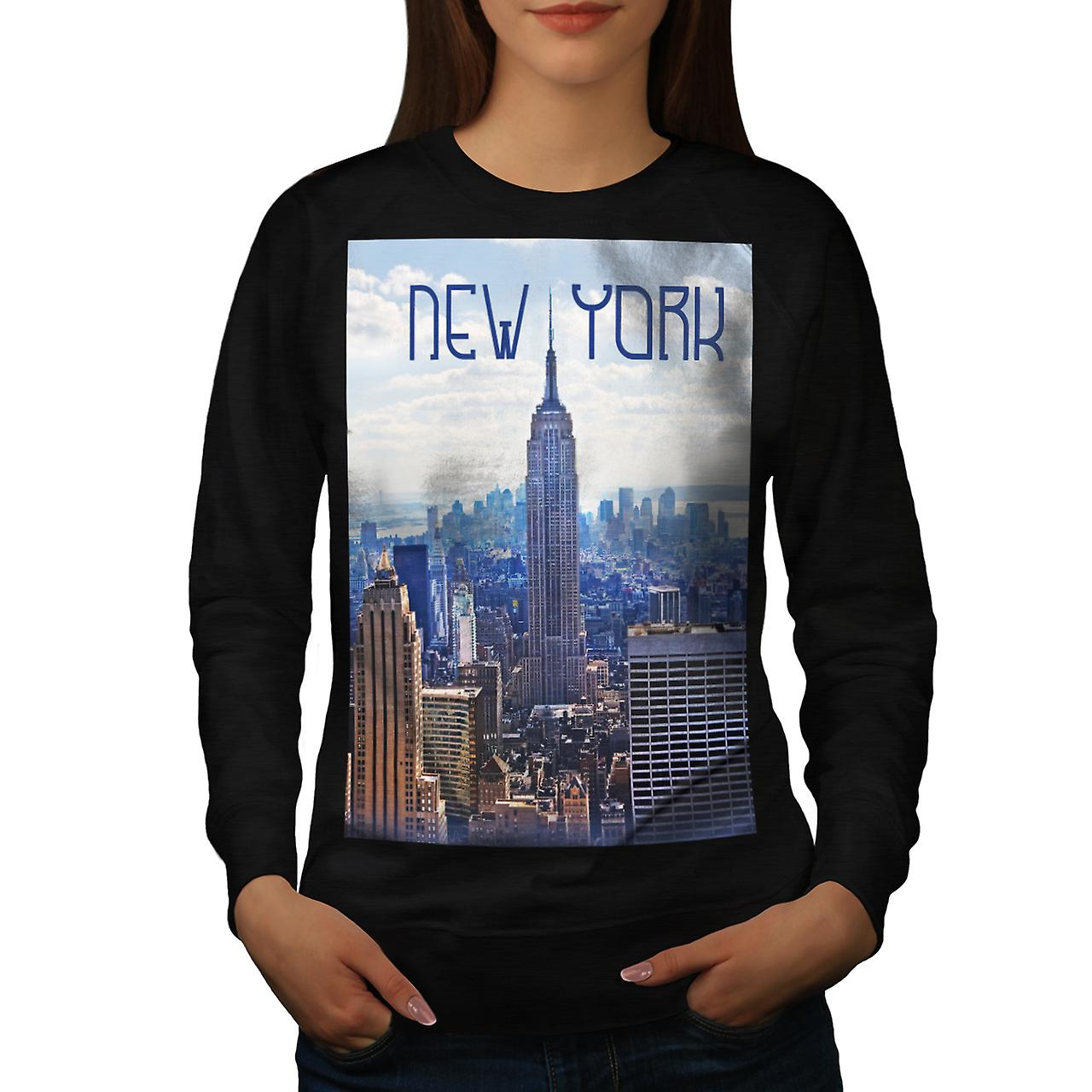 New York City NYC USA Urban Life Women Black Sweatshirt | Wellcoda